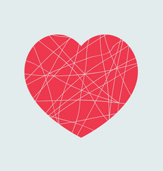 broken red heart shape isolated vector image