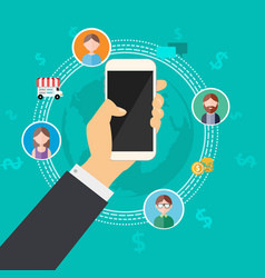 Business connection with mobile phone vector