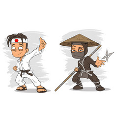 Cartoon karate boy and ninja characters set vector