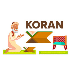 Character muslim old man reading koran vector