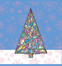 Christmas tree hand drawn new year vector