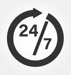 Clock icon organization work schedule 24 7 vector