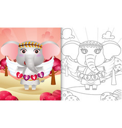 Coloring book for kids with a cute elephant angel vector