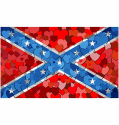 confederate flag made of hearts background vector image