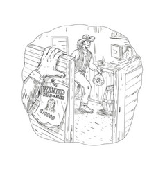 cowboy robbing saloon drawing vector image