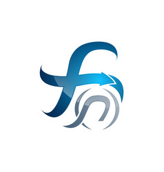 creative letter f swoosh logo template logo for vector image