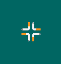 Cross four cigarettes logo on green background vector