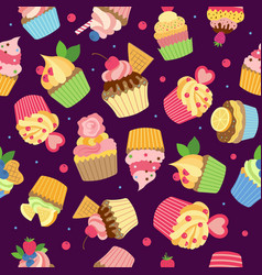 cupcake pattern gourmet sweet baked products with vector image