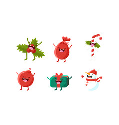 Cute christmas cartoon characters set mistletoe vector