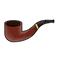 Cute scribble smoke pipe cartoon vector