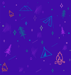 cute seamless pattern camping in woods vector image