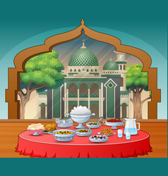 Delicious dishes for iftar party vector