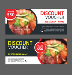 Discount gift voucher asian food template design vector