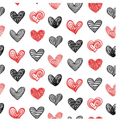 doodle hand drawn valentine heart seamless pattern vector image