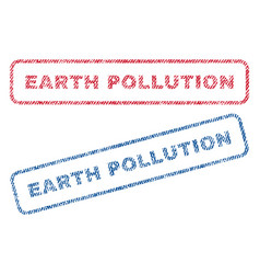 Earth pollution textile stamps vector
