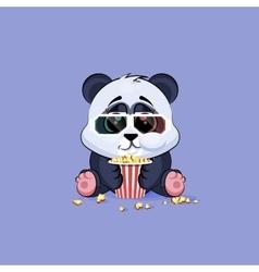 Emoji character cartoon Panda chewing vector