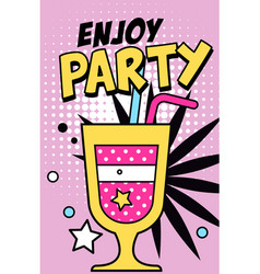 enjoy party banner bright retro pop art style vector image