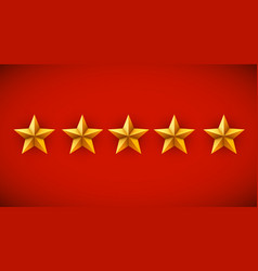 five golden stars on red background rating rank vector image