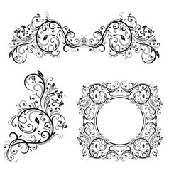 Floral frame and dividers decorative design vector