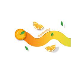 Fresh orange fruit background in paper art style vector