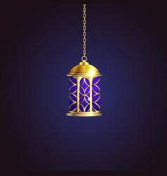 gold vintage luminous lantern vector image
