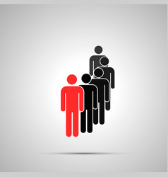 group several workers silhouette with red vector image