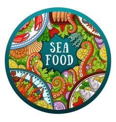 hand-drawn sea food vector image