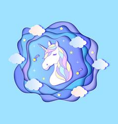 Head of paper unicorn vector