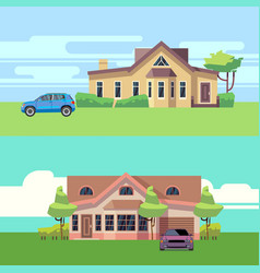 horizontal banners with houses with cars vector image