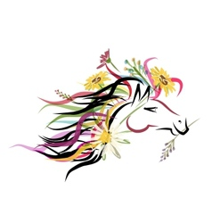 Horse head sketch with floral decoration for your vector