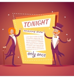 Host lady girl boy man in suit with cane vector