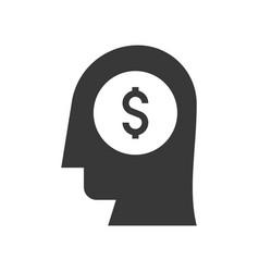 Human head and money in brain entrepreneur or vector