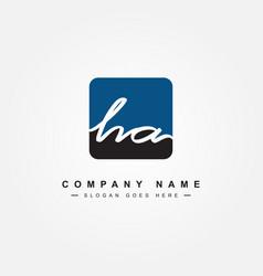 initial letter ha logo - minimal signature logo vector image