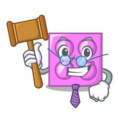 Judge toy brick mascot cartoon vector