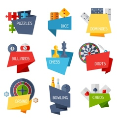 Labels with game icons in flat design style vector