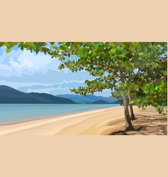 landscape of a sandy river bank with trees vector image