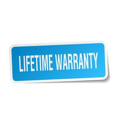 Lifetime warranty square sticker on white vector