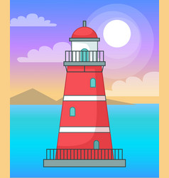 lighthouse in sea or ocean navigation building vector image