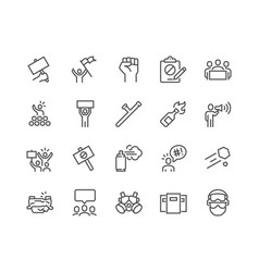 line protest icons vector image