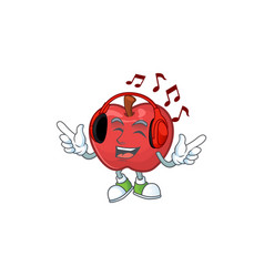 Listening music red apple funny character vector