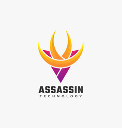 Logo assassin gradient colorful style vector