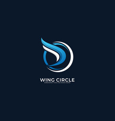 logo wing circle gradient colorful style vector image