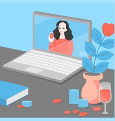 Long distance relationship online dating app vector
