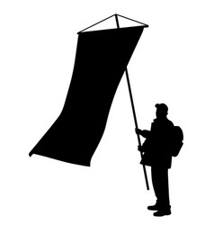 Man holding a large vertical flag vector