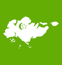 map of singapore with flag icon green vector image