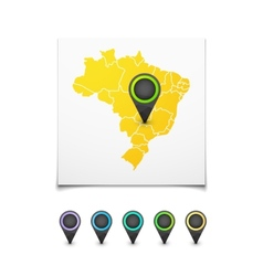 Map with a marker on Brazil vector image