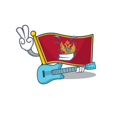 Mascot flag montenegro with in with guitar vector