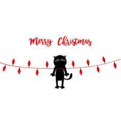 merry christmas lights cute cat in red santa hat vector image