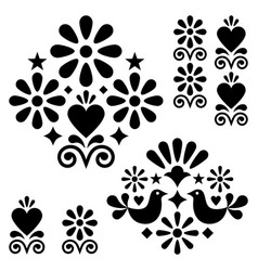 mexican folk art design elements vector image
