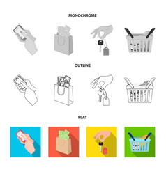 mobile phone a package with money and other web vector image